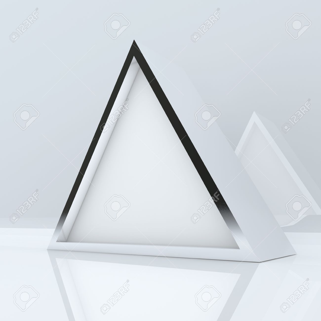 3d blank abstract white triangle box display new design aluminum frame template for design work