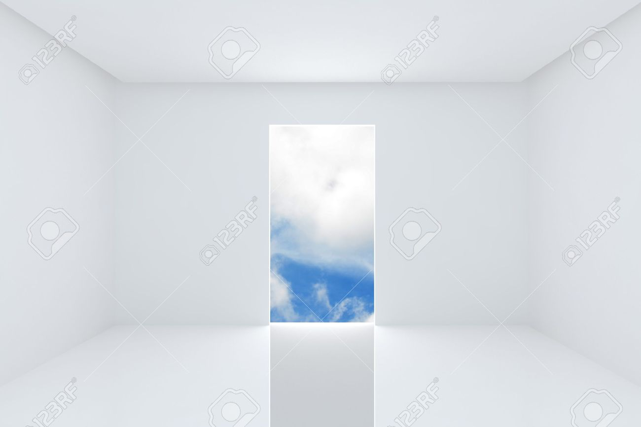 Solution For New Ideas Empty Room White Color Interior On Blue Sky Stock Photo