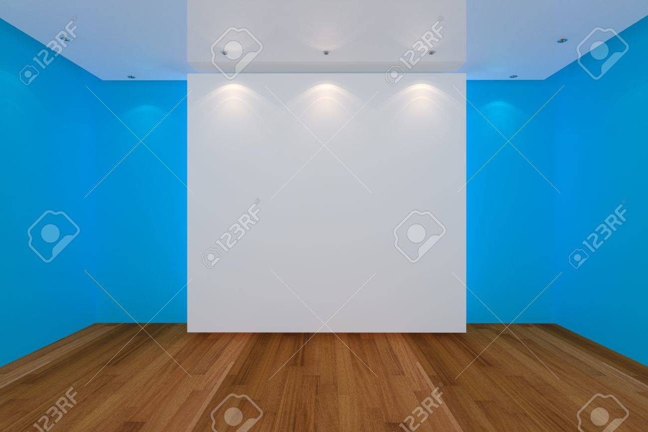 Foto de archivo , Interior de una casa de representación con la pared de color azul y vacía sala de piso de madera para la EA.