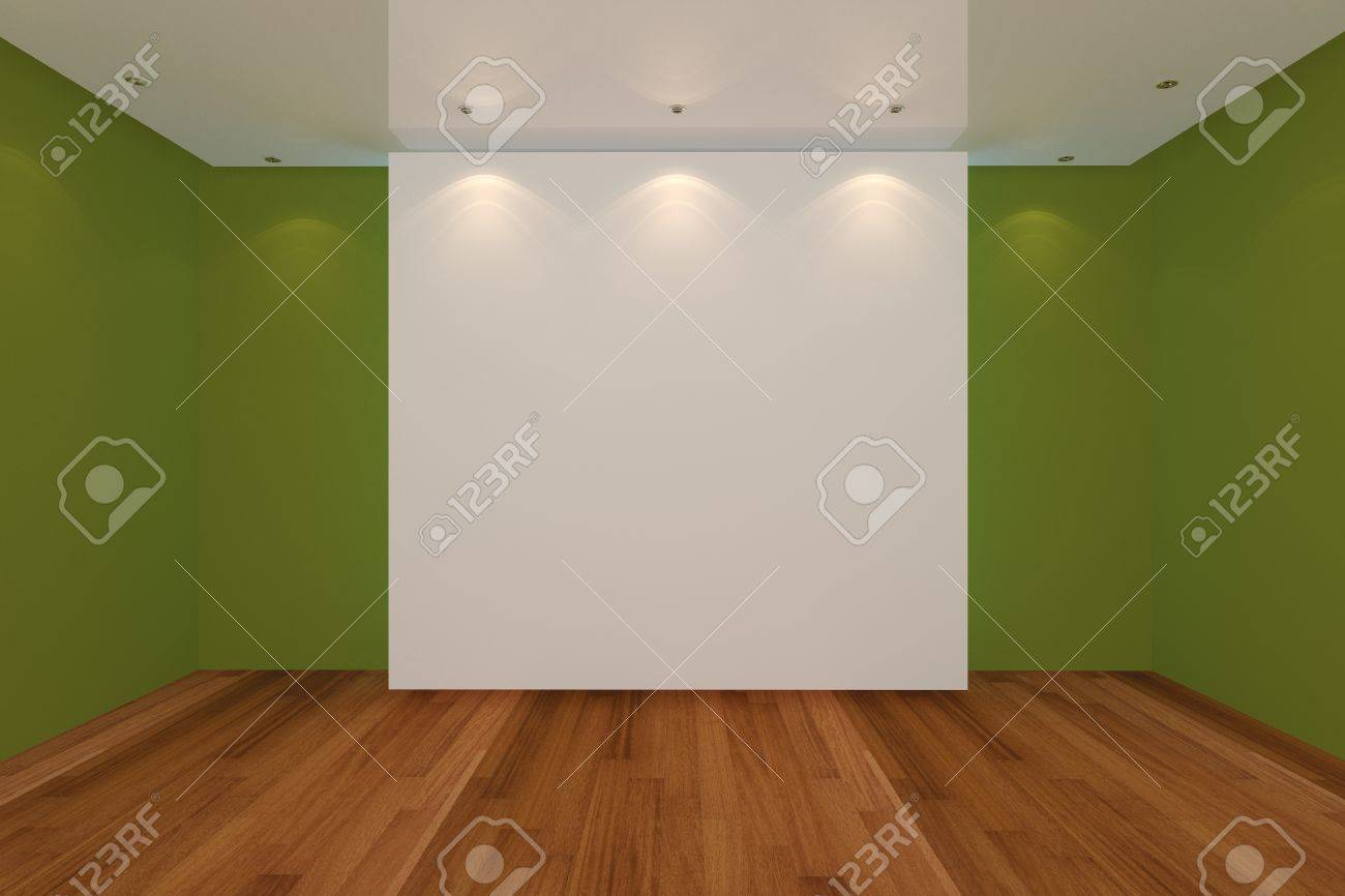 Home interior rendering with empty room green color wall and wood floor for AD. Stock Photo - 12939393