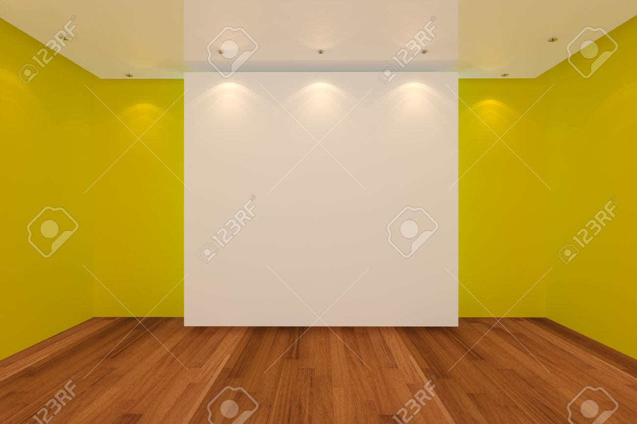 Home Interior Rendering With Empty Room Yellow Color Wall And