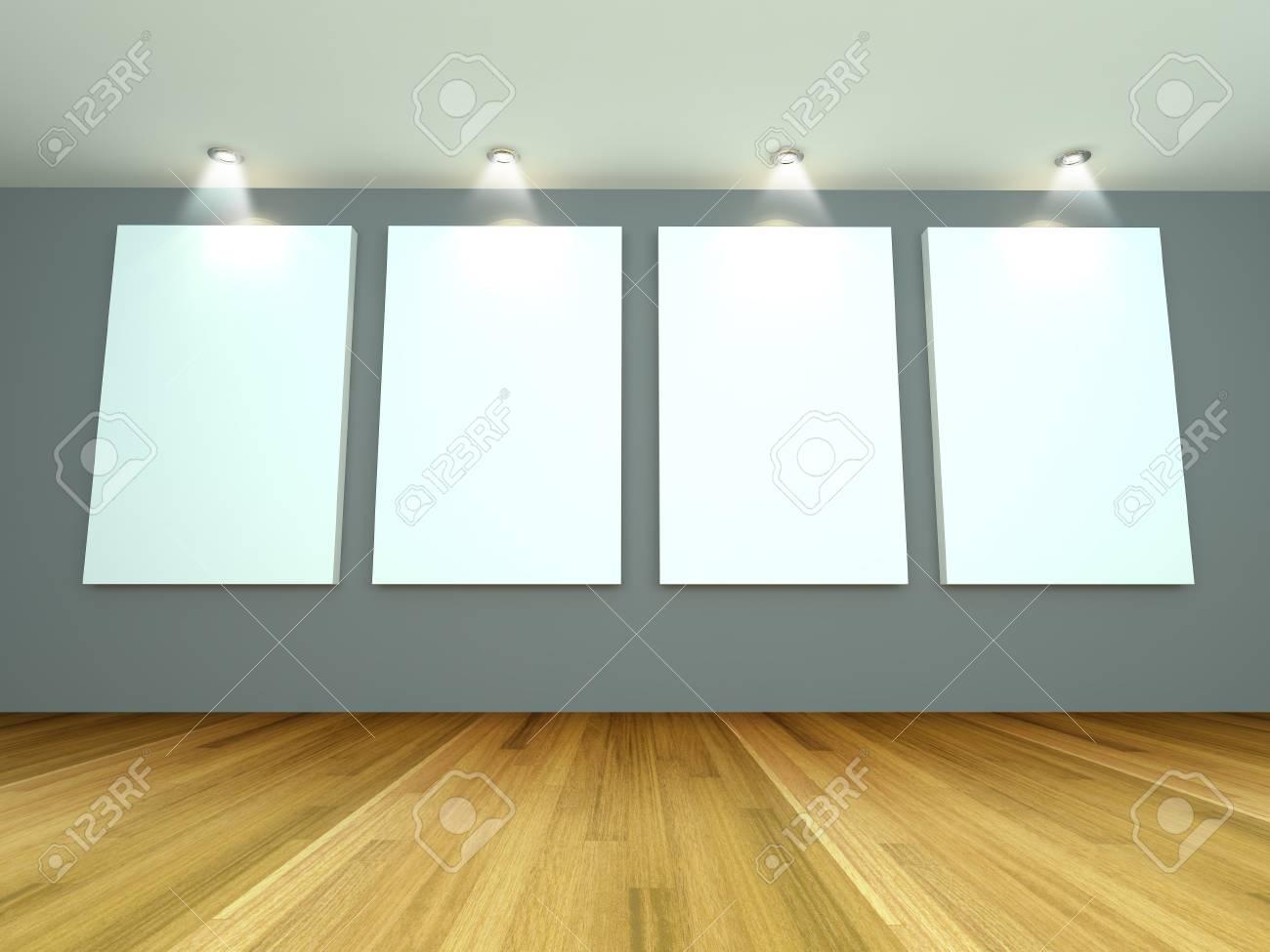 Leerer Raum Interieur Mit Weißen Leinwand Auf Einer Grauen Wand In Der  Galerie Standard Bild