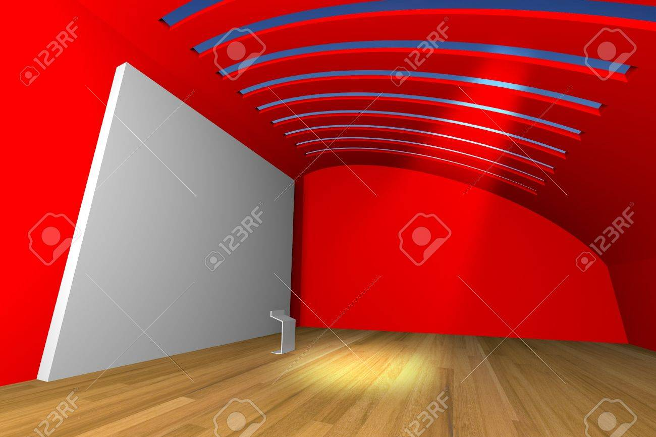 Empty room interior with big white canvas on a red wall in the gallery Stock Photo - 13608647