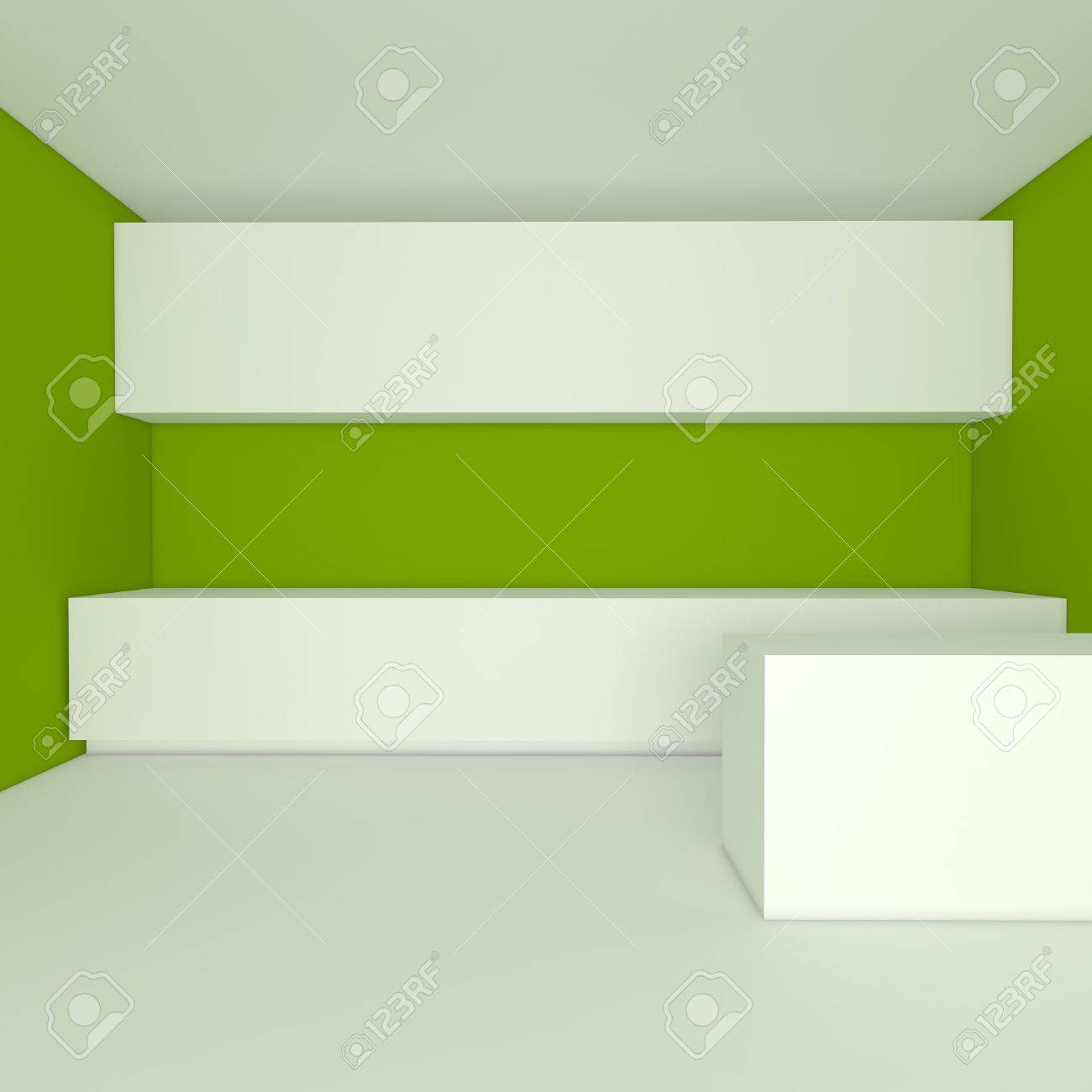 empty interior design for kitchen room with green wall Stock Photo - 13762672