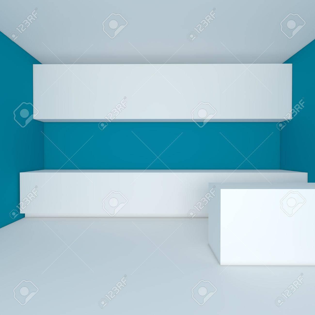 Lege interieur voor keuken kamer met blauwe muur royalty vrije ...