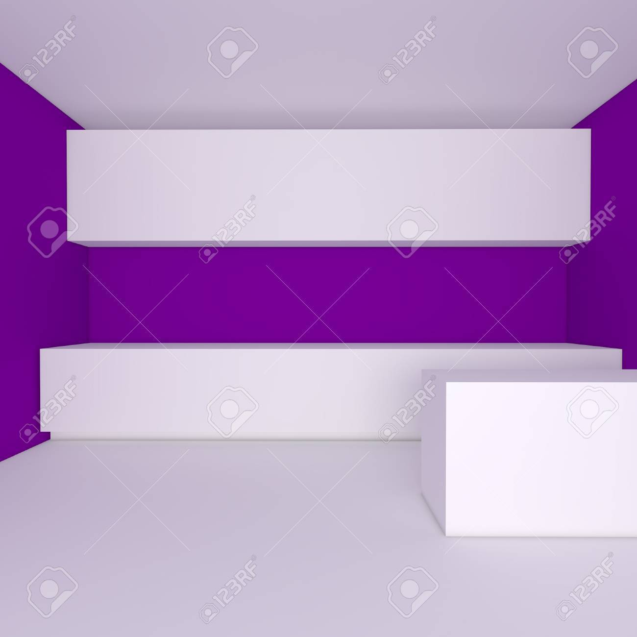 Empty Kitchen Wall Empty Interior Design For Kitchen Room With Purple Wall Stock