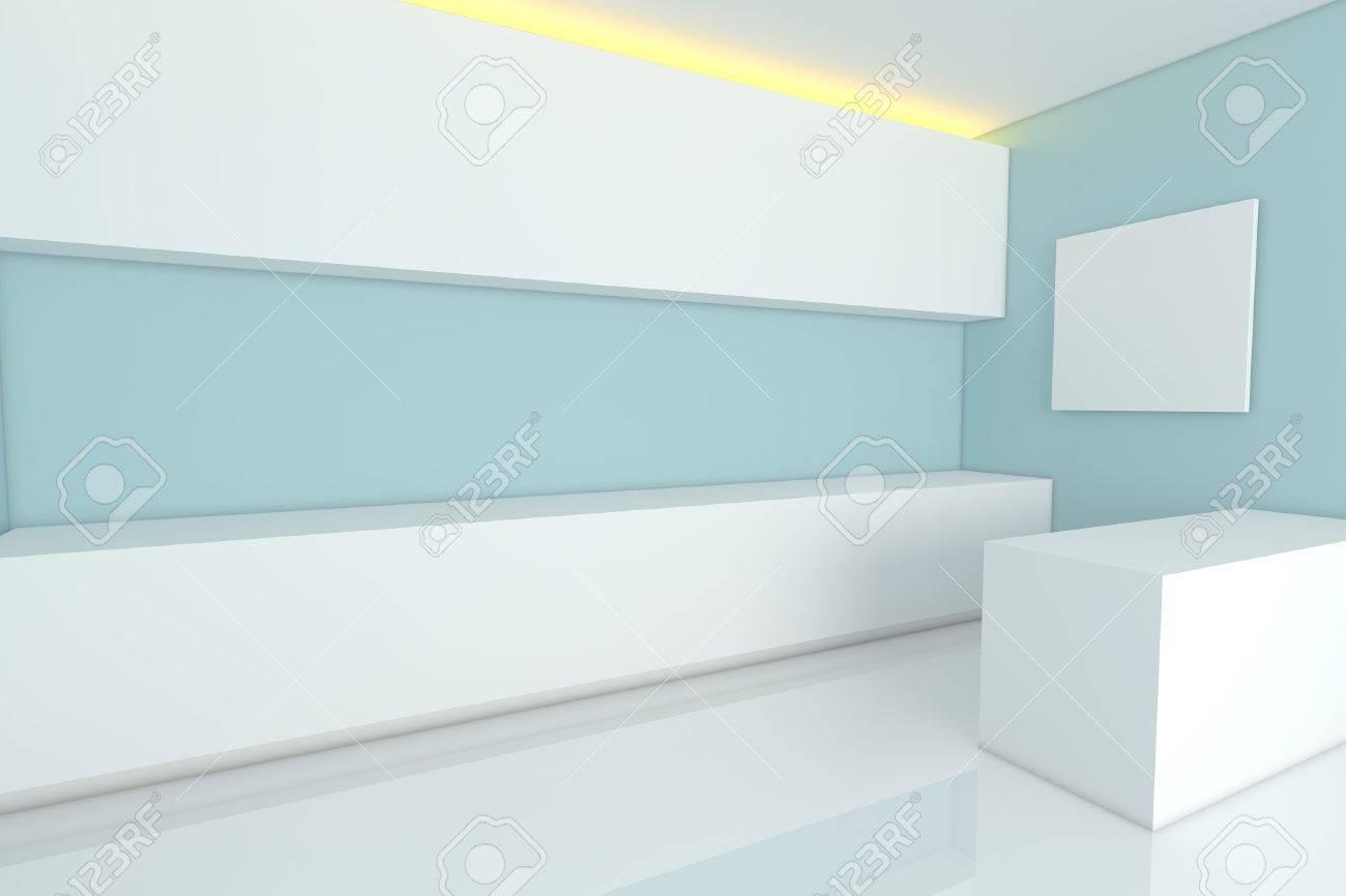 Wunderbar Leer Interior Design Für Küche Zimmer Mit Blauen Wand Standard Bild    13767220