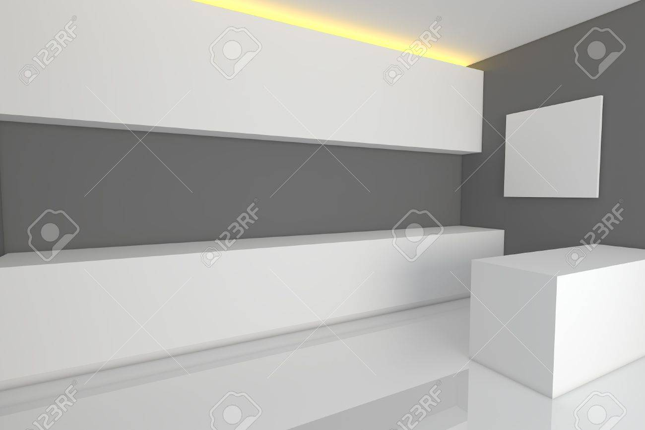 Empty Kitchen Wall Empty Interior Design For Kitchen Room With Gray Wall Stock Photo