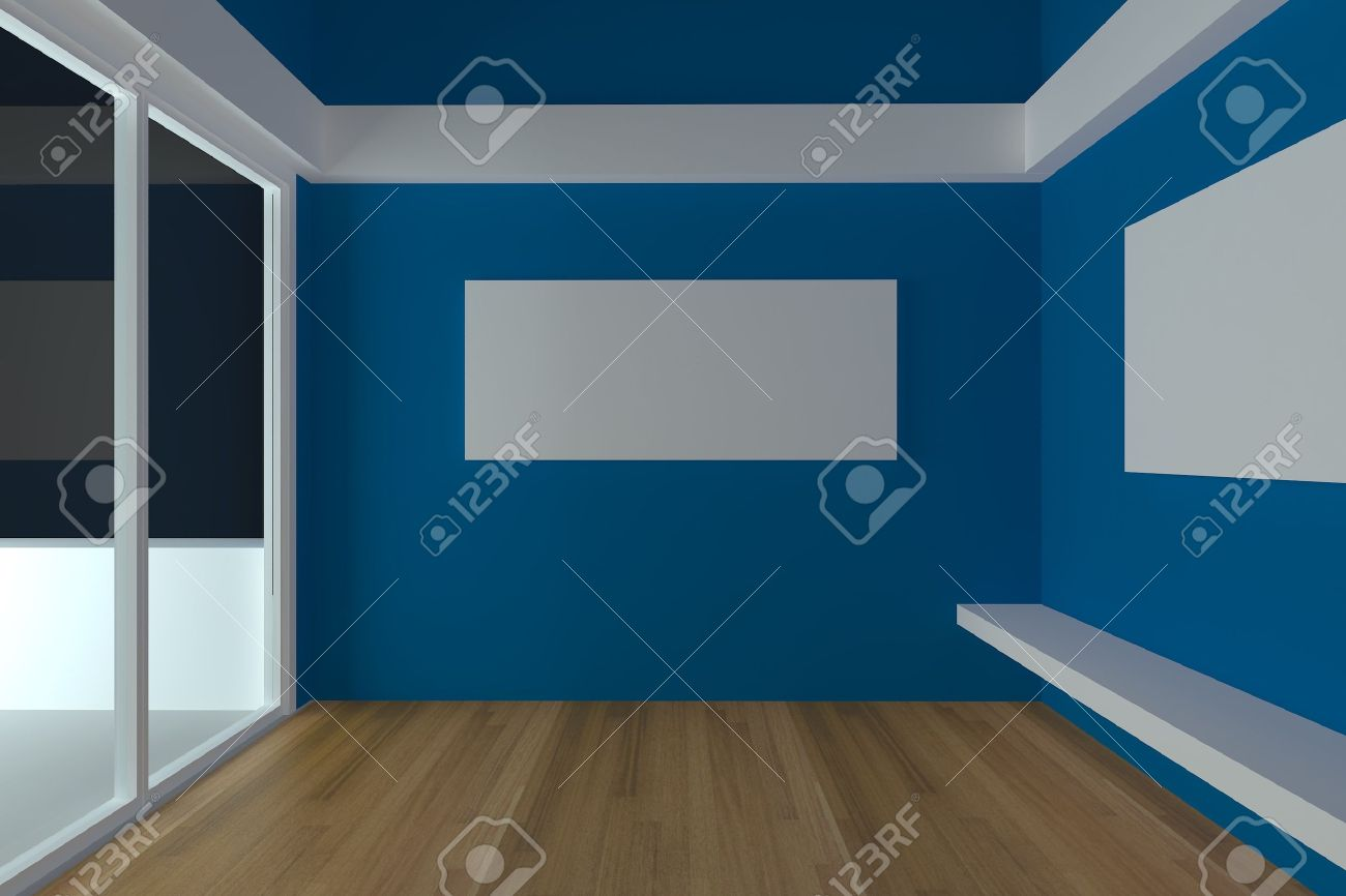 home interior rendering with empty room color blue wall and home interior rendering with empty room color blue wall and decorated with wood floors stock photo