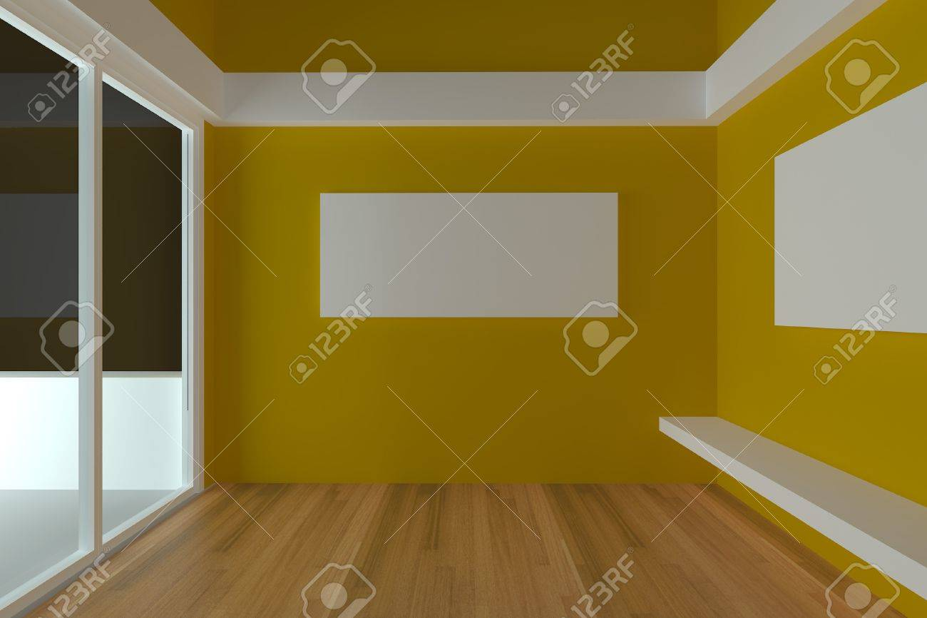 Home Interior Rendering With Empty Room Color Yellow Wall And ...