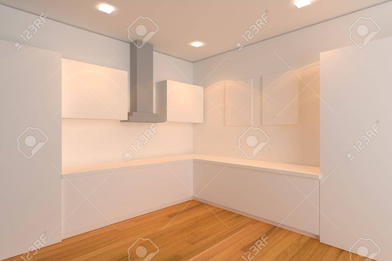 empty interior design for kitchen room with white wall