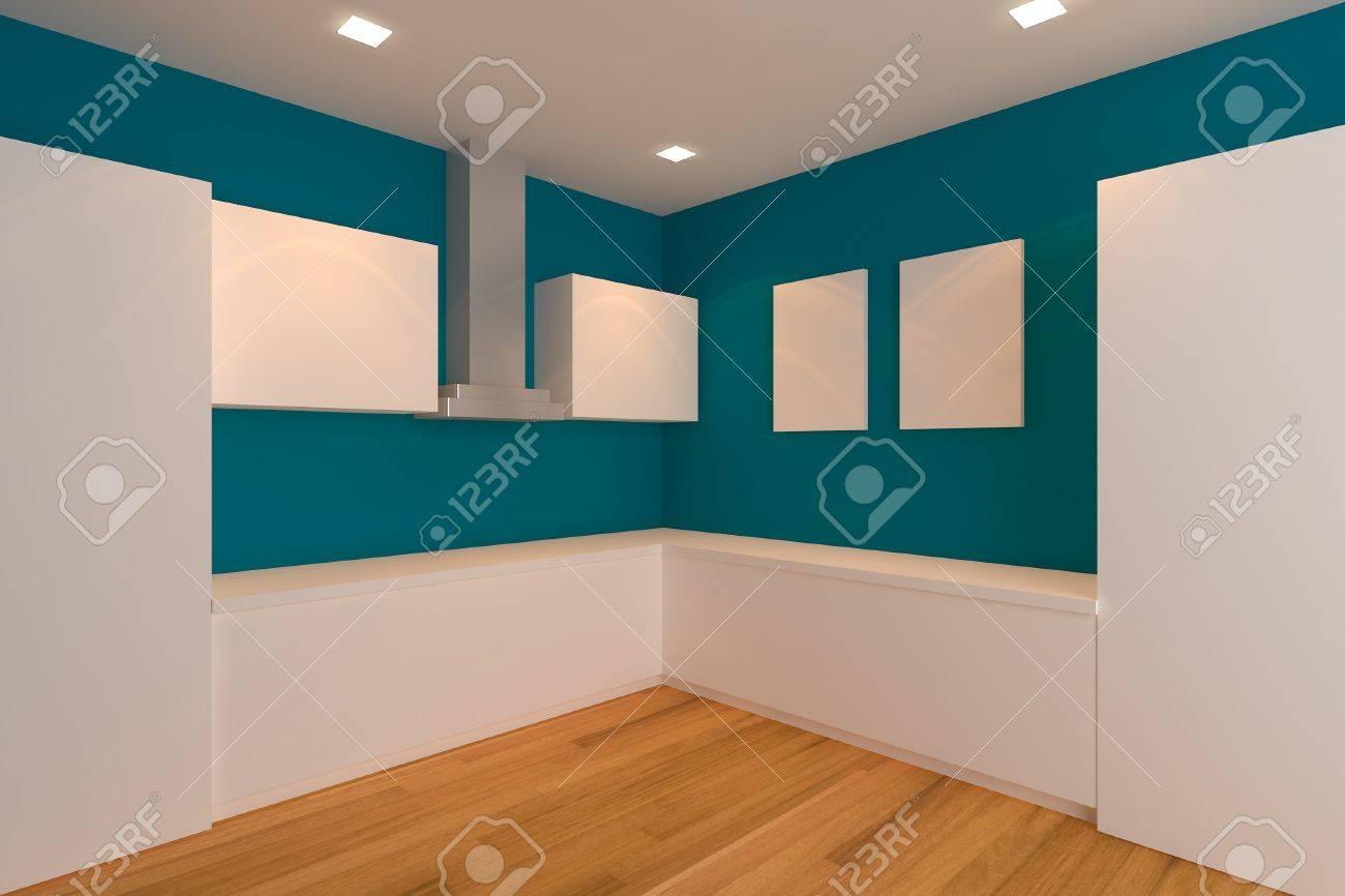 Leer Interior Design Für Küche Zimmer Mit Blauen Wand Standard Bild    14019737