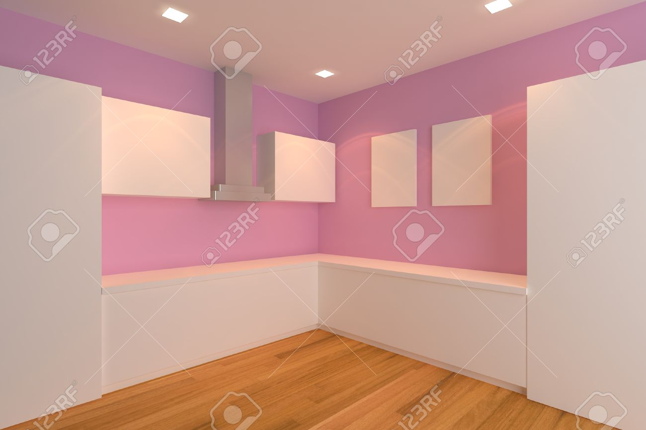 Empty Kitchen Wall Empty Interior Design For Kitchen Room With Pink Wall Stock Photo