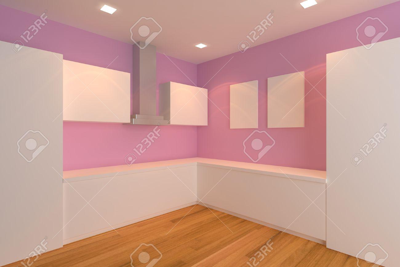 leer interior design für küche zimmer mit rosa wand lizenzfreie