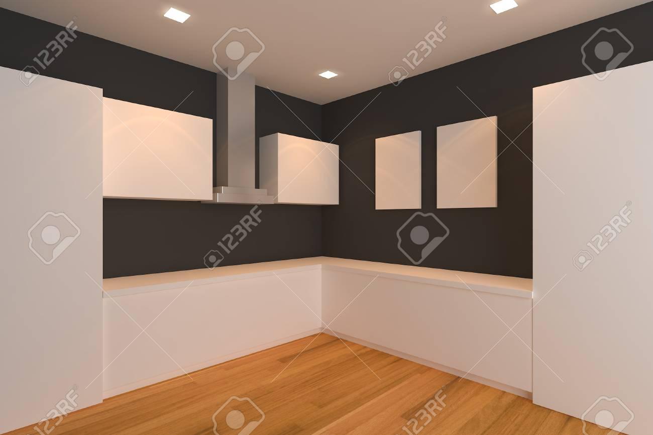 Leer Interior Design Für Küche Zimmer Mit Schwarzen Wand Lizenzfreie ...