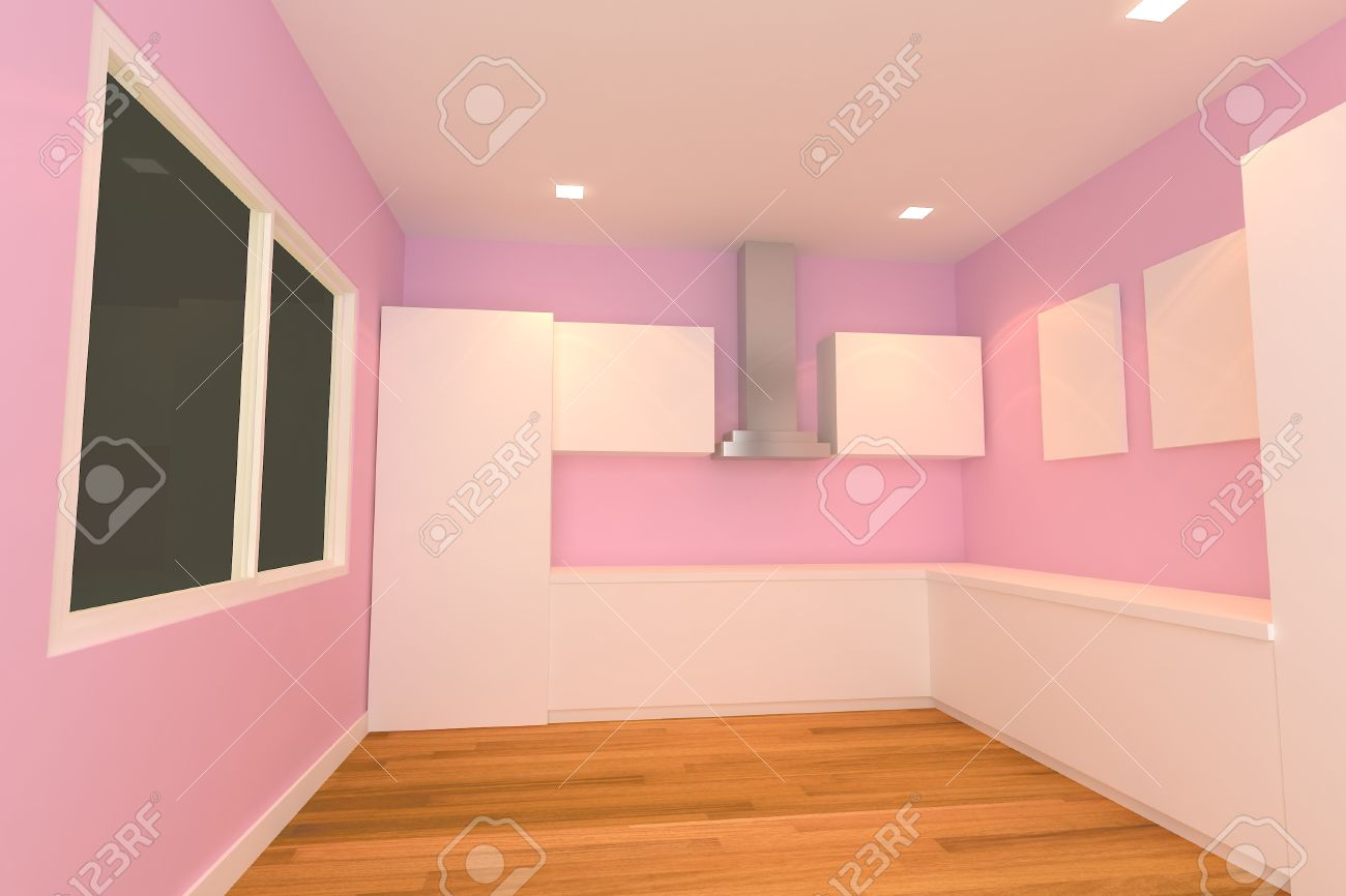 empty interior design for kitchen room with pink wall Stock Photo - 14125492