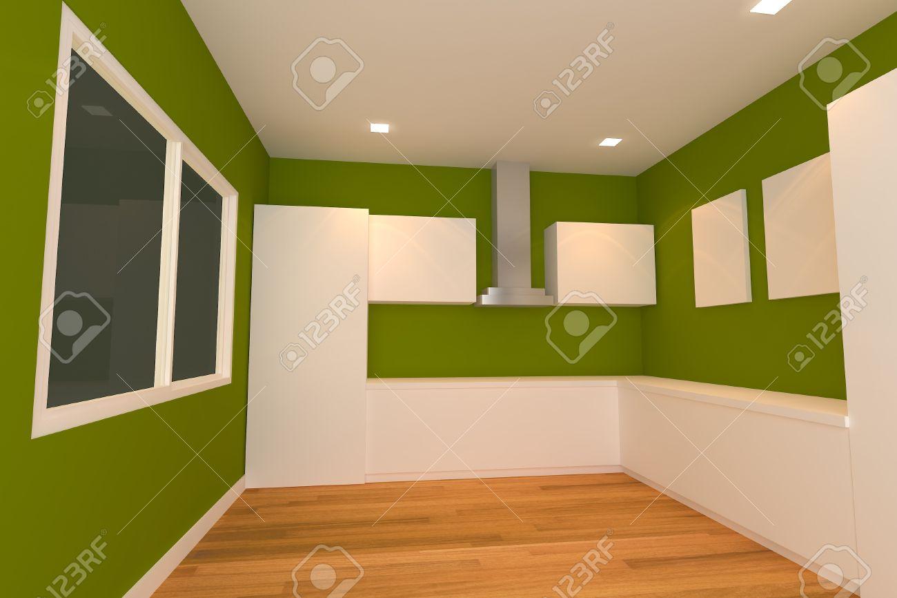 Lege Interieur Voor Keuken Kamer Met Groene Muur Royalty-Vrije ...