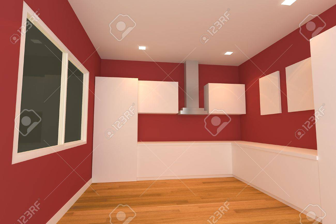 Red Wall Kitchen Empty Interior Design For Kitchen Room With Red Wall Stock Photo