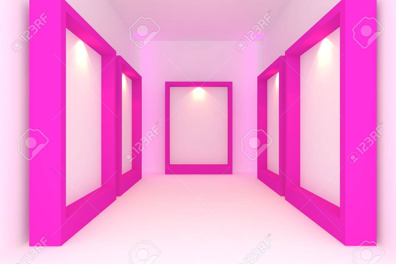 Empty room interior with white canvas on pink frame in the gallery Stock Photo - 14125500