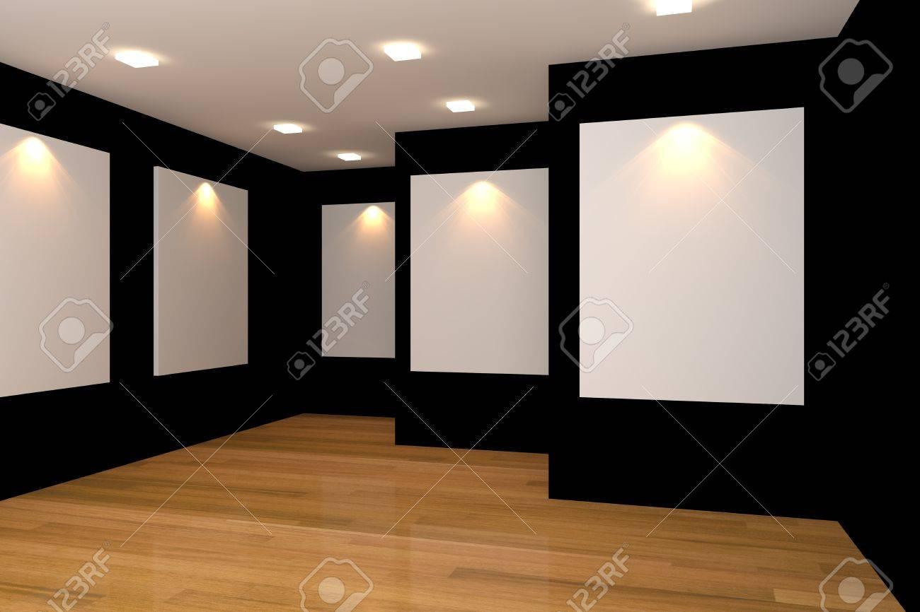 Intérieur De La Chambre à Vide Avec Toile Blanche Sur Le Mur Noir ...