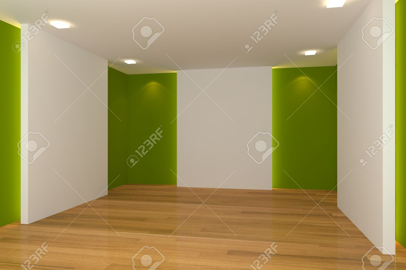 Home interior rendering with empty room color wall and decorated with wooden floors Stock Photo - 14347540