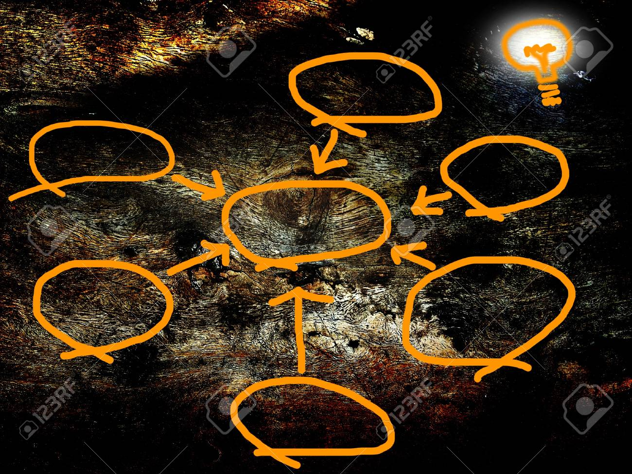 bubble diagram for idea on old wood background Stock Photo - 14432690