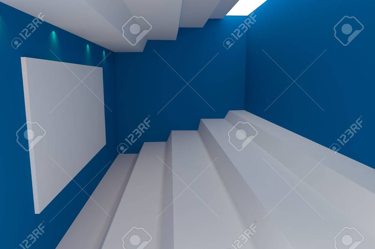 Marvelous Abstract Interior Rendering With Empty Room Color Blue Wall Home Interior And Landscaping Staixmapetitesourisinfo