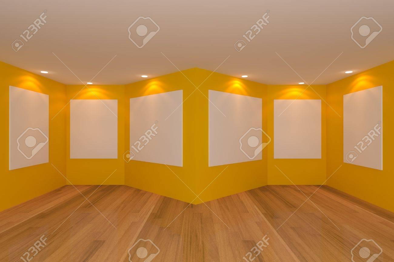 Intérieur de la chambre à vide avec toile blanche sur un mur vert dans la  galerie.
