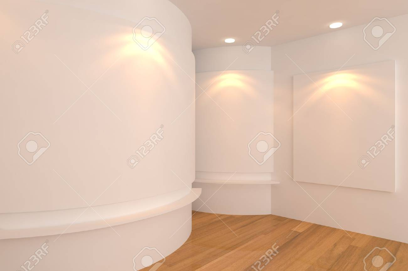 Empty room interior with white canvas on a white wall in the gallery Stock Photo - 15113434