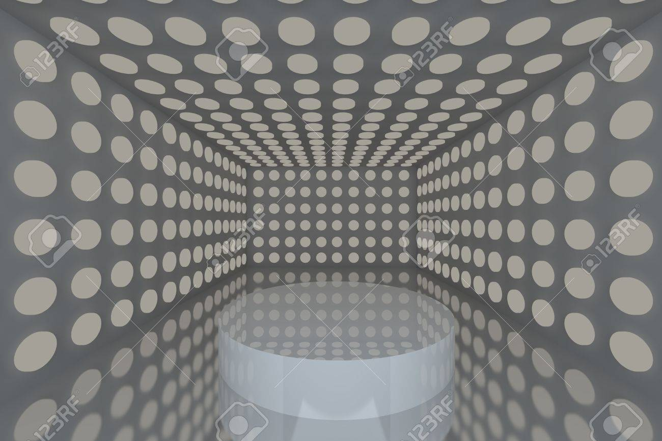 Podium in Empty room with abstract color gray lighting sphere wall and gray wall Stock Photo - 15548762