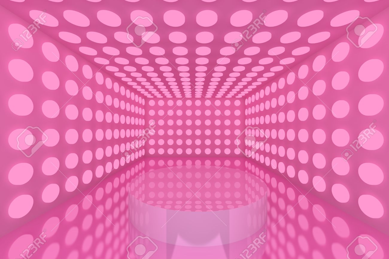 Podium in Empty room with abstract color pink lighting sphere wall and pink wall Stock Photo - 15548769