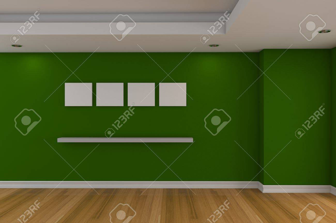 Modern Minimalist Empty Livingroom With Green Wall Wood Floor Stock Photo