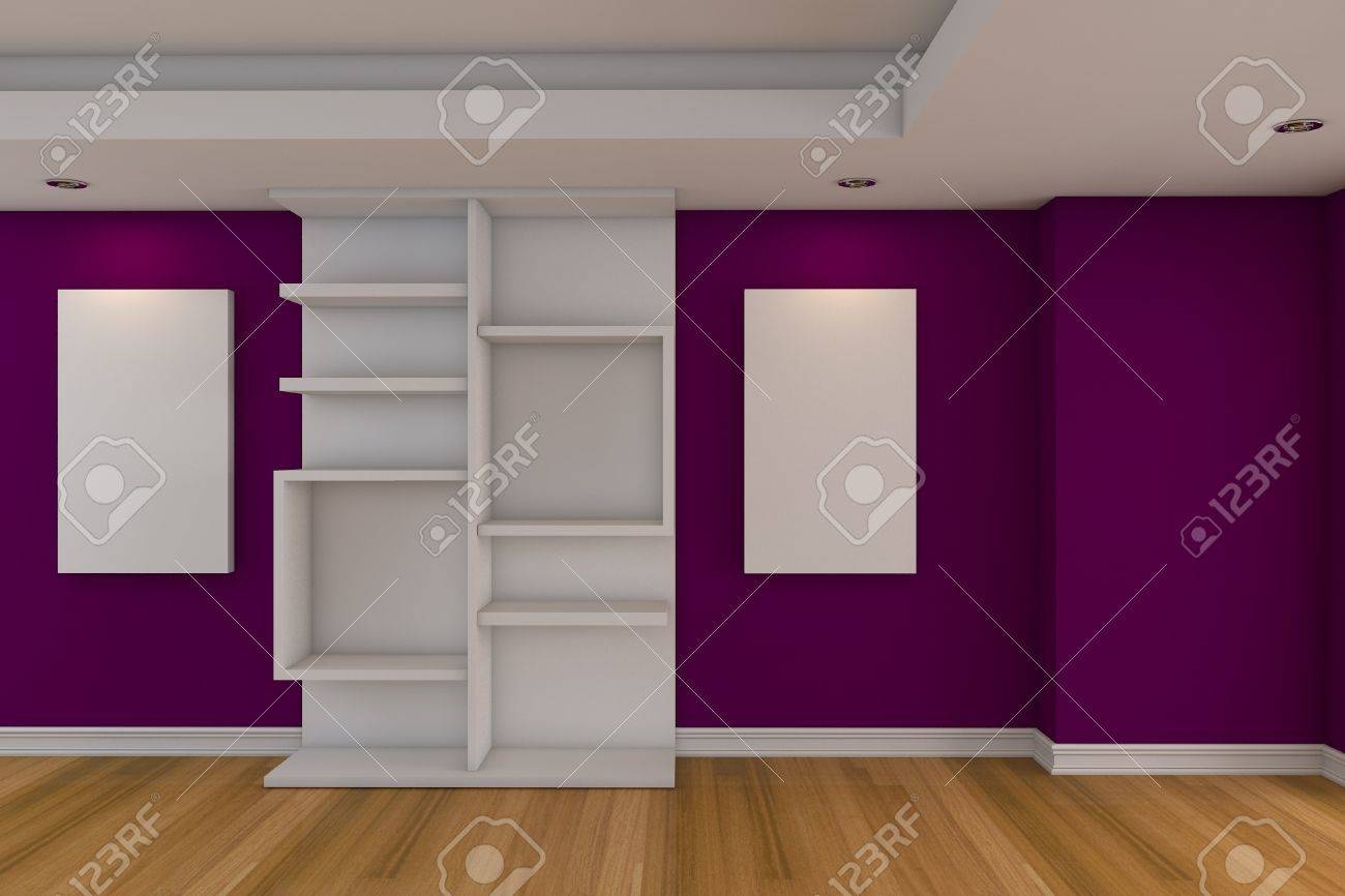 Modernen, minimalistischen leere wohnzimmer mit lila wand ...