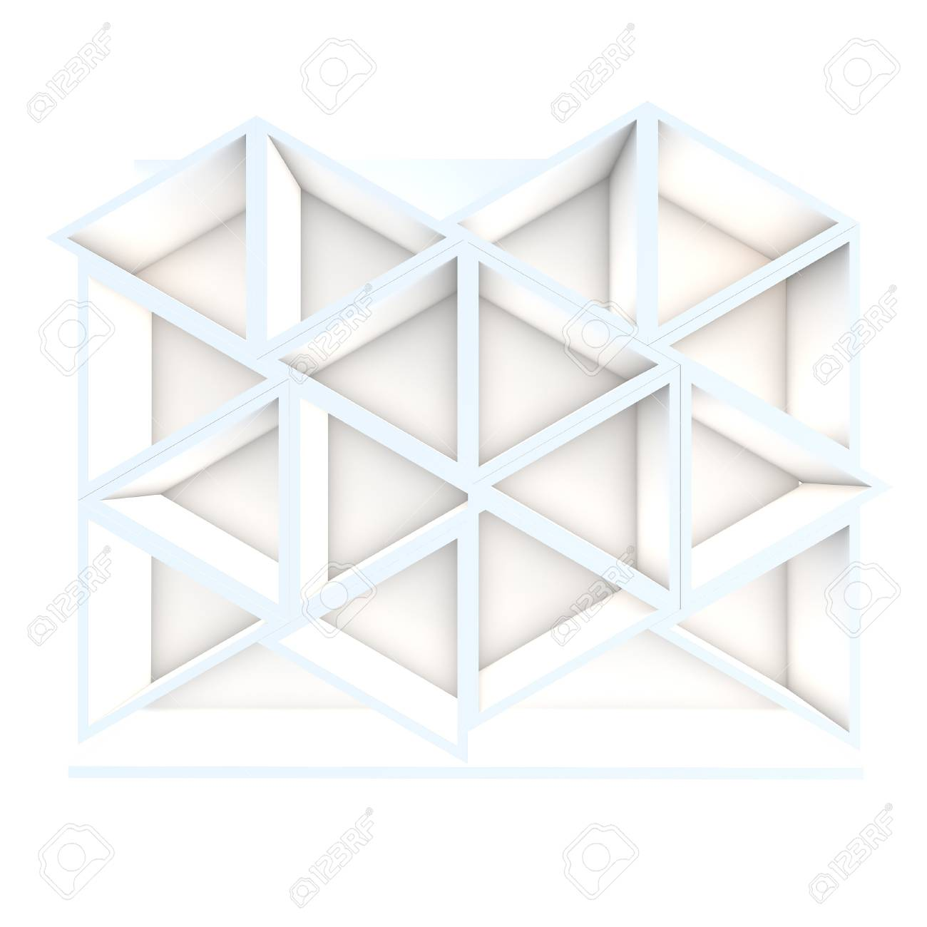 Color white triangle shelf design with white background Stock Photo - 16849553