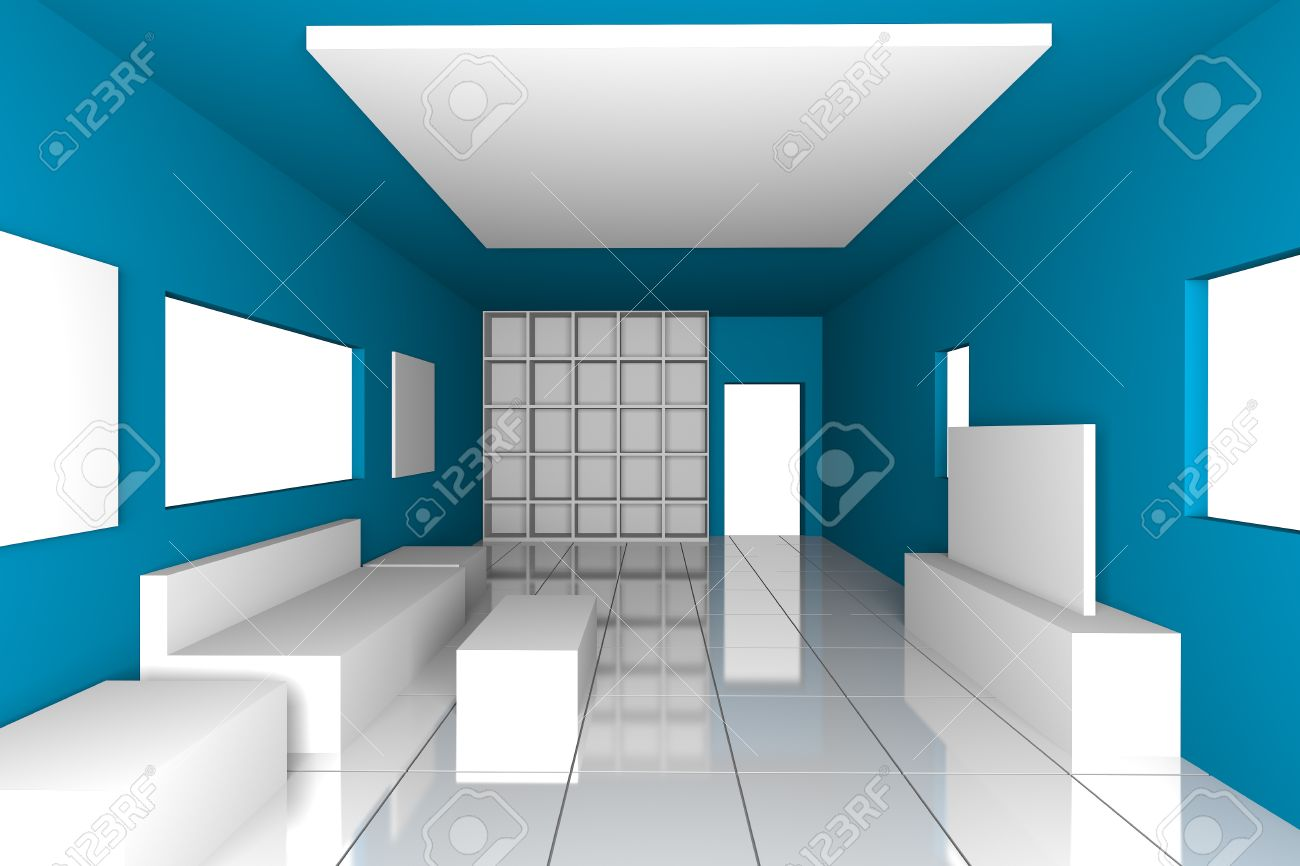 Mock-up For Minimalist Livingroom With Blue Wall And Tile Floor ...