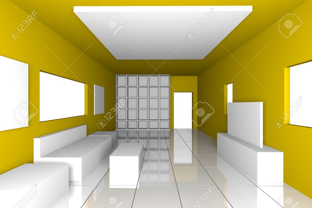 Mock up für minimalistische wohnzimmer mit gelben wand und ...