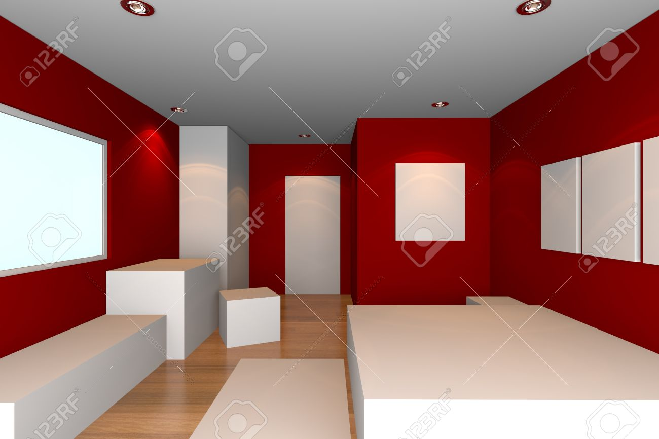 mockup voor minimalistische slaapkamer met rode muur en, Meubels Ideeën