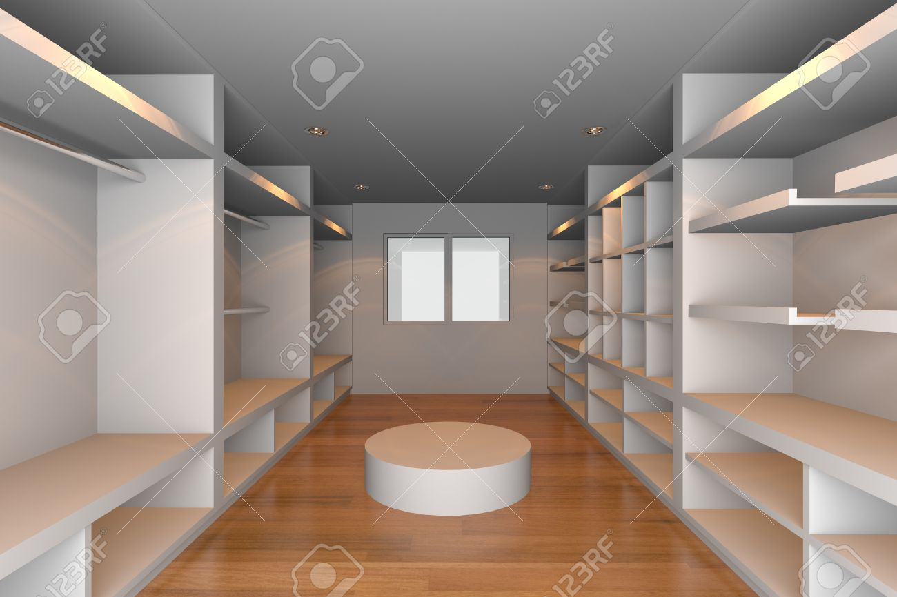 Mock Up For Minimalist Walk In Closet With White Wall And Tile Floor Ideal
