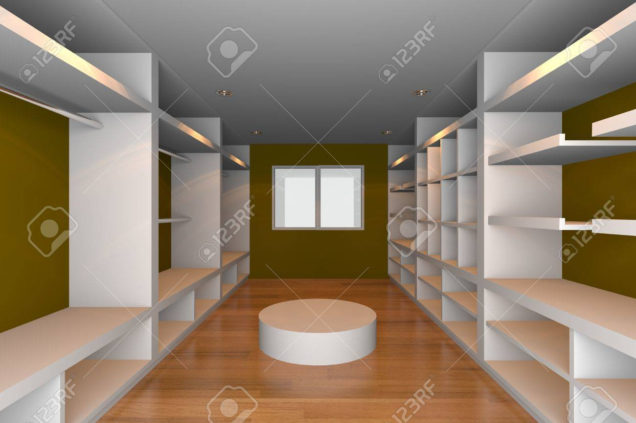 Mock-up for minimalist walk-in closet with brown wall and wood floor  Ideal for ineterior design background Stock Photo - 18214709