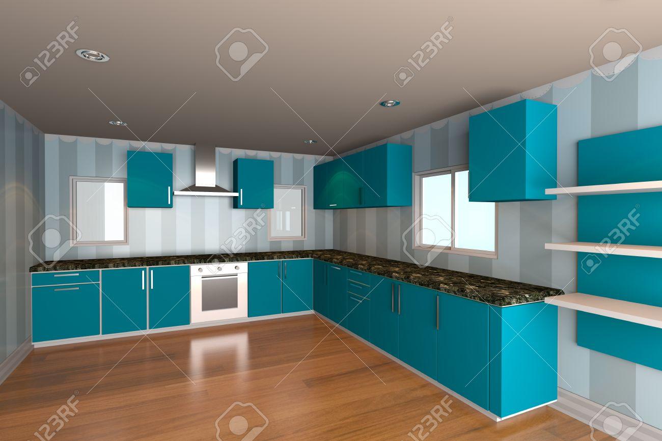 Mock up för minimalistiska kök rum med blå tapeter och trägolv ...