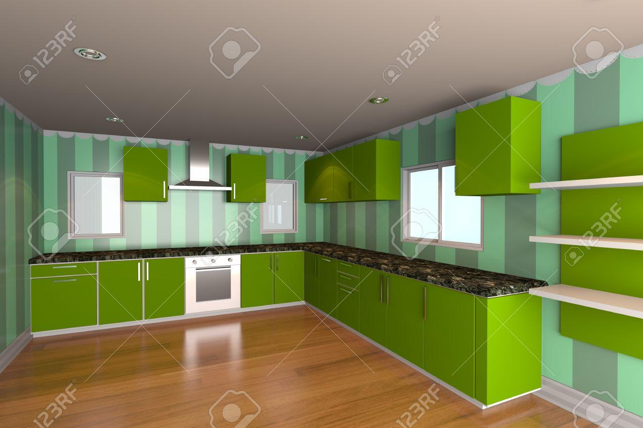 mockup para cocina minimalista con fondo de pantalla verde y suelo de madera ideal