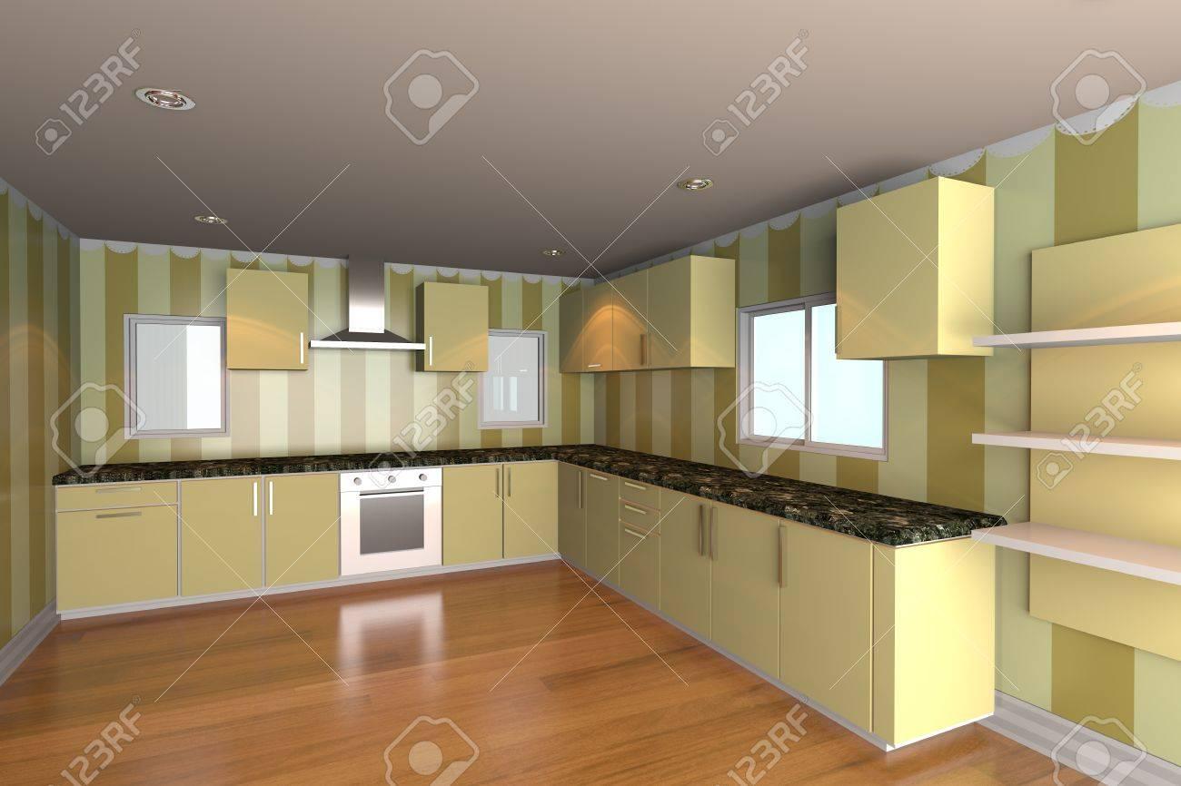 Papier Peint Pour Cuisine mock-up pour cuisine minimaliste avec du papier peint jaune et plancher de  bois idéal pour le fond de conception ineterior