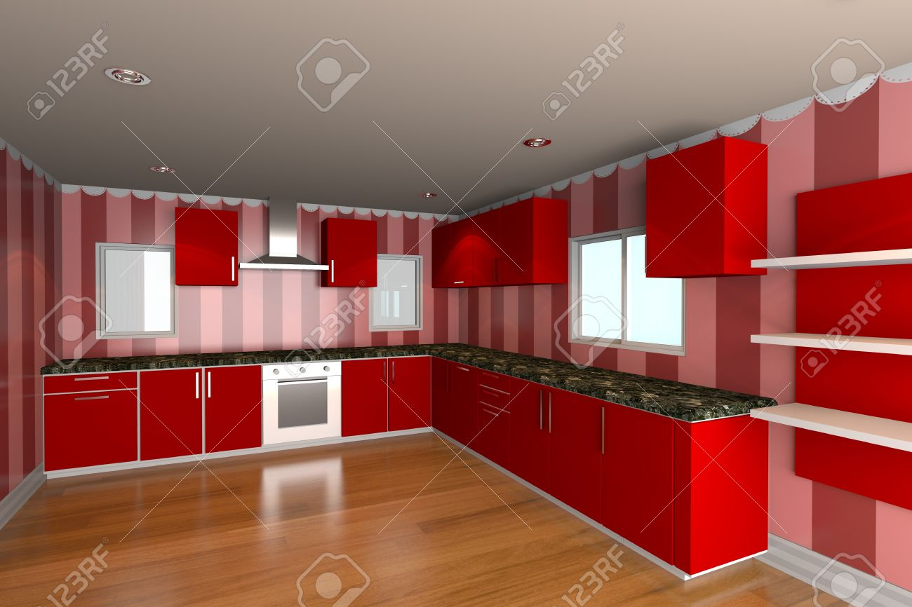 Mock-up Voor Minimalistische Keuken Kamer Met Rode Behang En ...