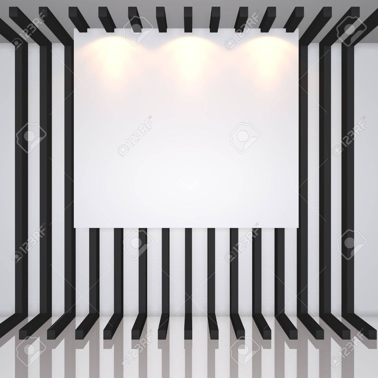 Gallery Interior With Empty Frames On Black Line Decorate Wall Stock ...