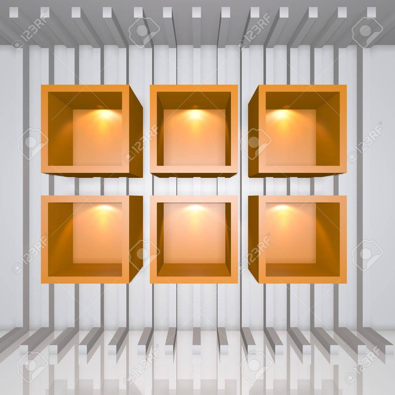 Tablettes 3D orange et le plateau pour la publicité écharpe sur une ligne  blanche décorer mur dans la chambre