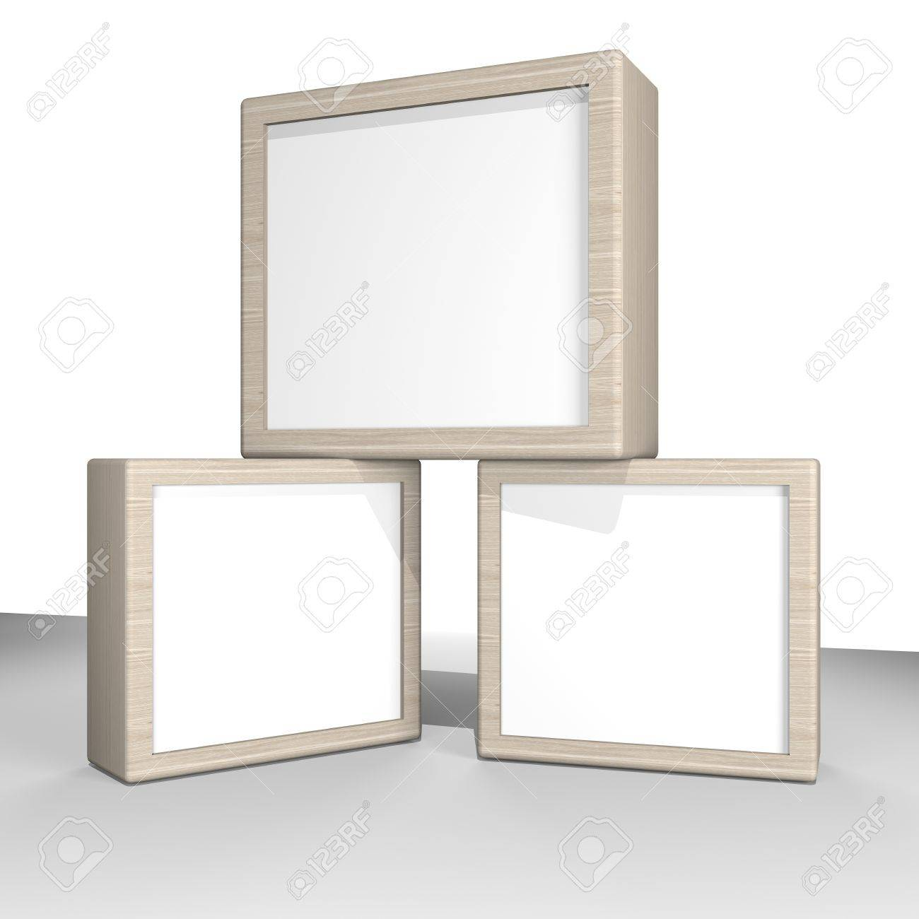 Three Blank Box Display New Design Wood Frame Template For