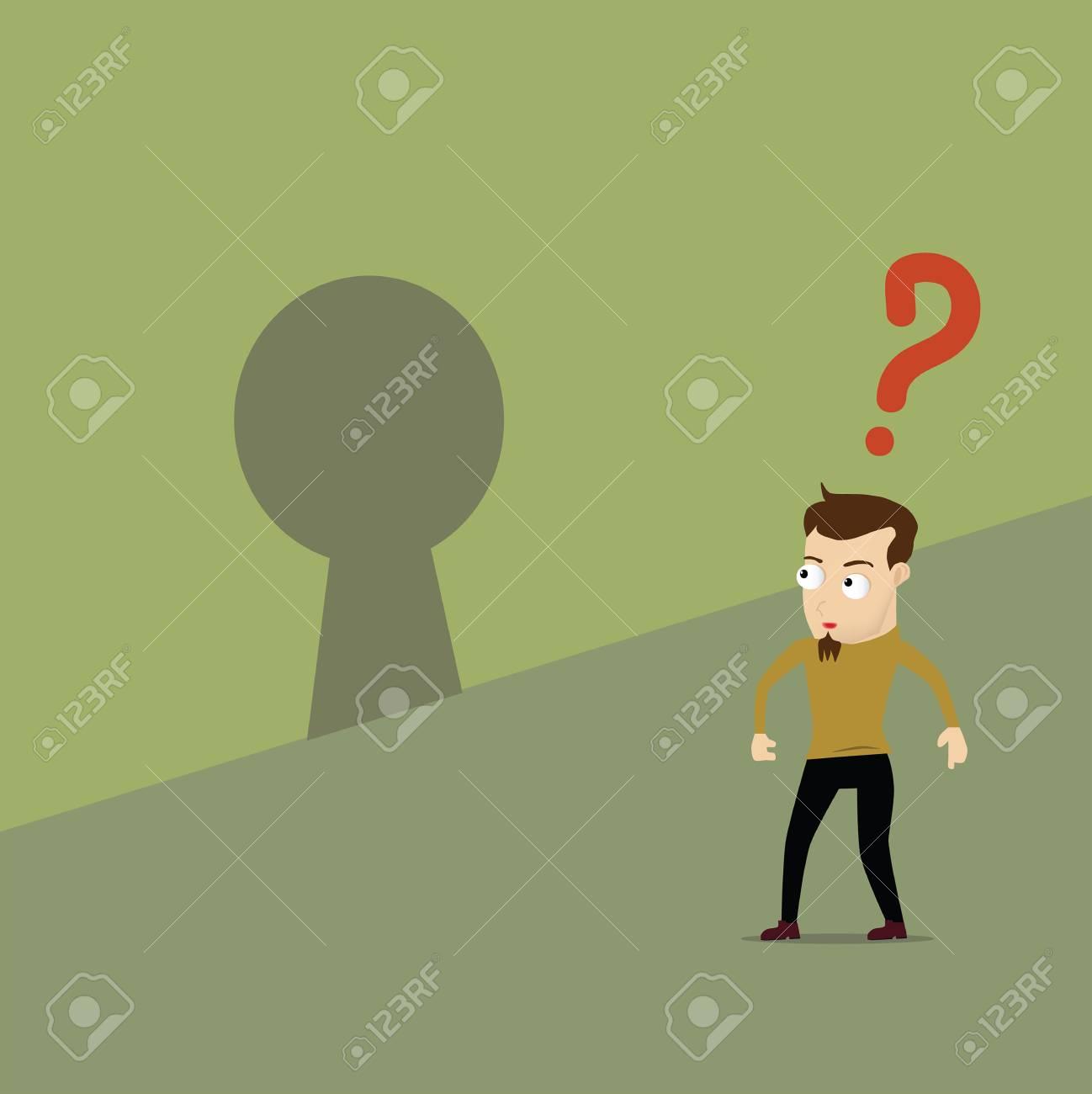 Man question the key hole. Concept idea Stock Vector - 21451942