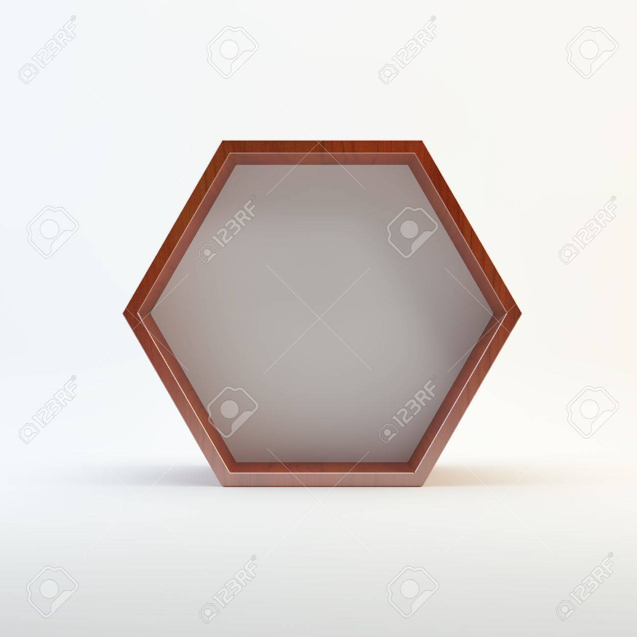 One Blank Hexagon Box Display With Wood Frame Template For Design ...