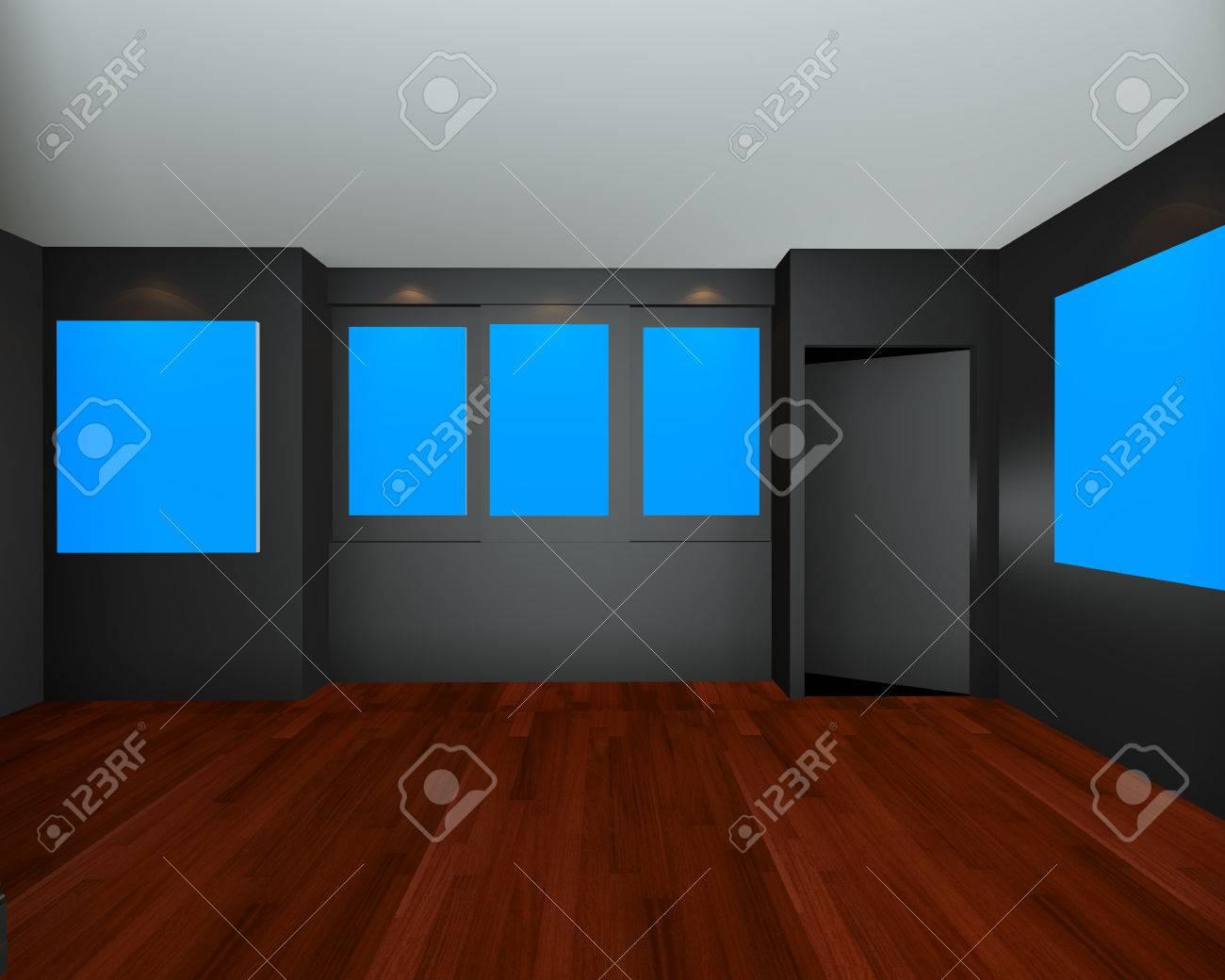 Habitación Vacía Galería De Arte Interior Con Marco Azul De La Lona ...
