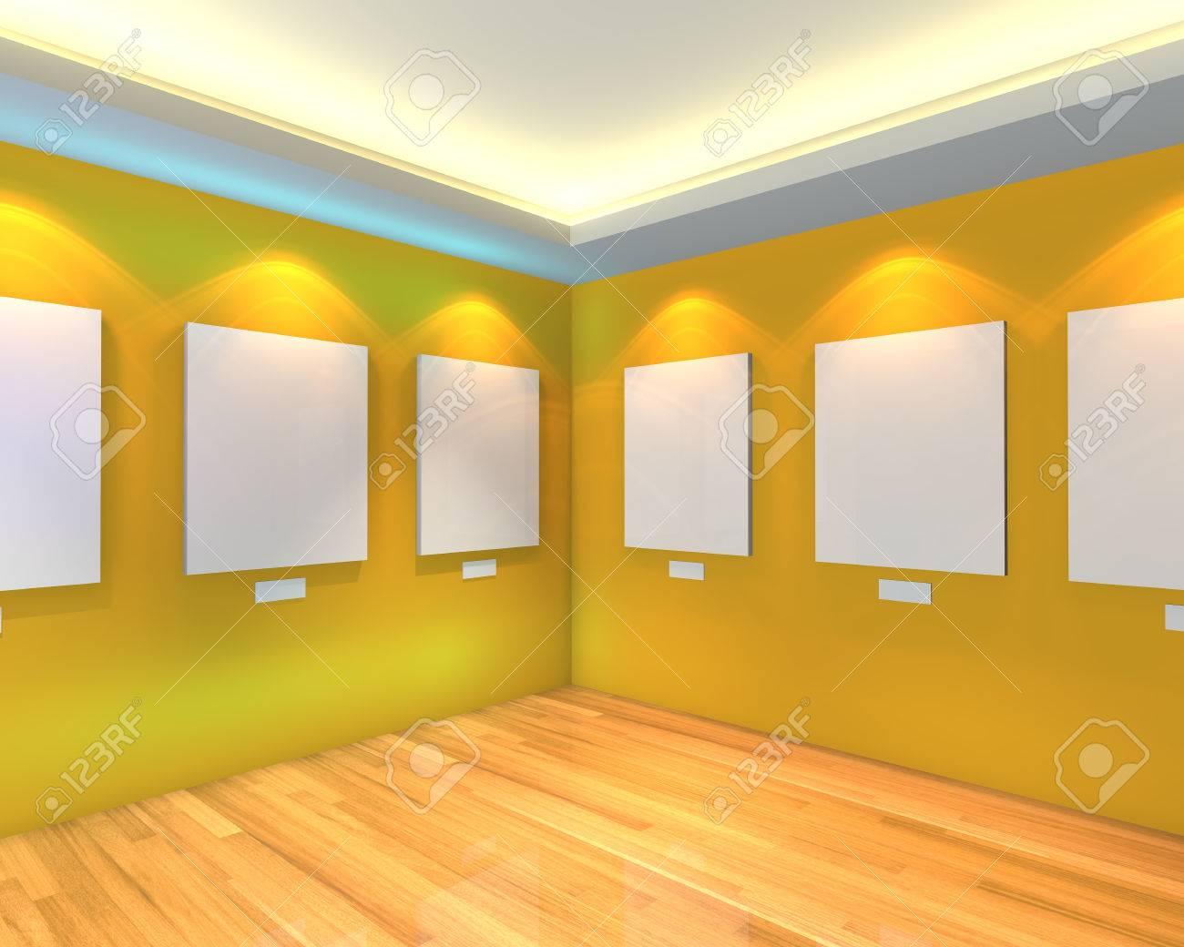 Intérieur de la chambre à vide avec toile blanche sur un mur jaune dans la  galerie